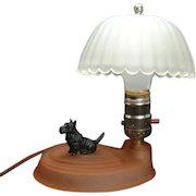 Art Deco Boudoir Lamp with Satin Glass and Scotty Dog - 1920's