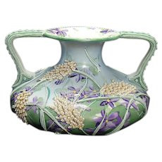 Beautiful Moriage Two-handle Vase with Hand-painted Floral Design