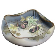 Hand-Painted Nippon Porcelain Nut Bowl with Chestnuts and Leaves