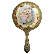 Hand-painted Porcelain Ladies Mirror with Courting Scene - German Silver