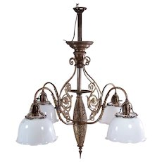 Large Solid Brass/Bronze Four Arm Chandelier with Opaline Shades  c.1900