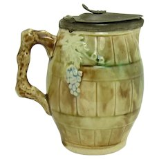 Majolica Ceramic Syrup Pitcher with Pewter Top - c.1870