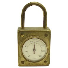 Solid Brass German Padlock Thermometer