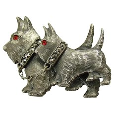 Scottie Dog Brooch with Marcasite Collars and Ruby Glass Eyes - 1940's