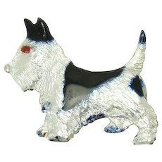 Sterling Enameled Scottie Dog Pin - 1940's