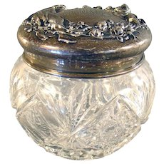 Unger Brothers Cut Glass Powder Jar with Figural Sterling Lid - 1880's