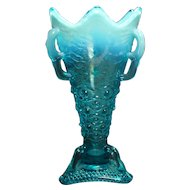 Blue Opalescent Jefferson Glass Vase with Three Handles - 1907