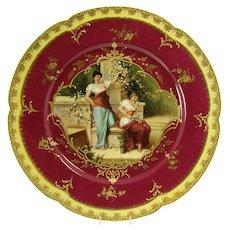 Dresden Porcelain Cabinet Plate - Semi-nude Women - 1890's