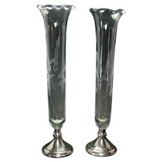 Sterling and Etched Glass Vases (Pair) - Signed Web - 1930's
