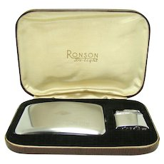 Early Ronson De-light Cigarette Holder and Lighter Set - Mint in Leather and Silk Gift Box