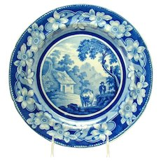 Blue and White Porcelain Pottery Cabinet Plate - c.1870