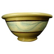 Early Yellowware Pottery Banded Bowl with Seaweed Pattern - 1850's
