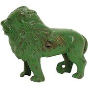 Rare Green Arcade Cast Iron Lion Bank