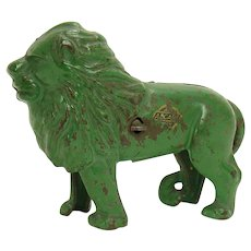 Rare Green Arcade Cast Iron Lion Bank