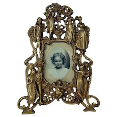 Ornate Iron Picture Frame with Figural Men and Women Decorations - c. 1890