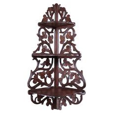 Carved Black Walnut Three-Tiered Shelf with Leaves and Vines - 1880's