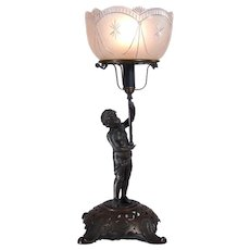 Portable Gas Lamp with Figural Nude and Signed Shade - 1880's