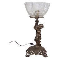 Gas Portable Lamp with Etched Thumbprint Ruffled Shade and Figural Nude - 1880's