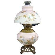 Hand Painted Kerosene Banquet Lamp - 1880's - 100% Original