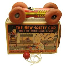"""Marx """"The New Safety Car"""" Tin Pull Toy - Near Mint in Box"""