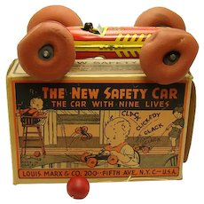 "Marx ""The New Safety Car"" Tin Pull Toy - Near Mint in Box"