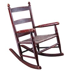 Early Child's Rocking Chair with Original Red Paint and Rope Seat - 1880's