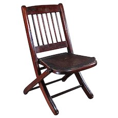 Child's Folding Chair with Pressed Back Seat in Original Finish - Signed FRANK - c.1880
