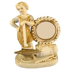 Victorian German Porcelain Figural Blacksmith Watch Holder