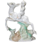 Japanese Porcelain Kewpie Figurine on Leaping Deer - 1920's