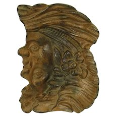 Cast Iron Reversible Double-Faced Colonial Man and Woman Pin Tray - 1910