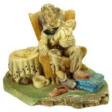 Cast Chalkware Figurine - Grandad's Darling - 1960's