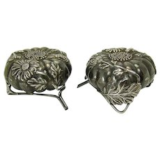 Sterling Silver Salt and Pepper Shakers with Applied Decoration - 1890's