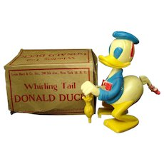 Whirling Tail Donald Duck Wind-up Toy - 1950's - Mint in Box