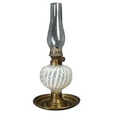 Clear Opalescent Sheldon Swirl Miniature Kerosene Lamp on Brass  Platform