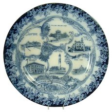 Flow Blue Souvenir Plate from Atlantic City, New Jersey - 1890's