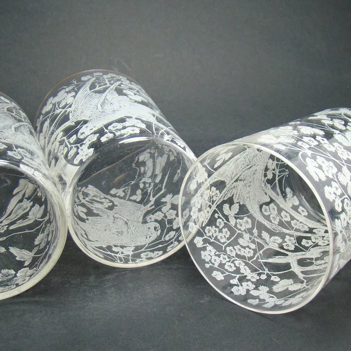 Etched Whiskey Glasses With Parrots And Floral Design