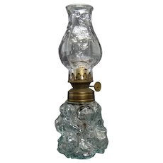 Miniature Clear Oil Lamp with Embossed Globe and Base - 1880's