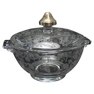Cambridge Rosepoint Candy Dish with Sterling Knob