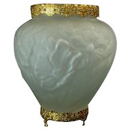 Large Consolidated Embossed Satin Vase with Brass Ormolu Mounts - 1930's