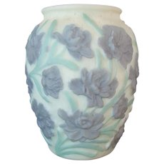 Large Consolidated Embossed Custard Glass Vase with Violet and Green Floral Design - 1930's