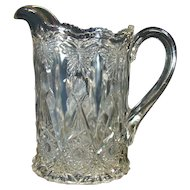 Pressed Glass Water Pitcher with Butterflies - 1920's