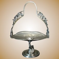 Silver Plated Candy Dish with Ornate Handle and Dolphin Base