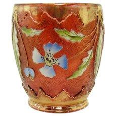 Enameled Cranberry Glass Delaware Tumbler - 1920's