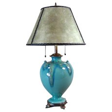 Weller Turkis Arts & Crafts Pottery Table Lamp - 1920's