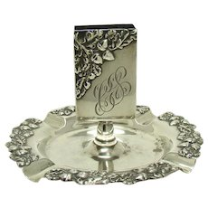 Sterling Match Holder Ashtray with Acorn and Leaf Patter - 1890's
