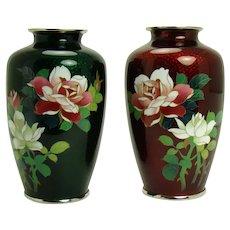Cloisonne Foil-Backed Floral Vases - Showa Period (1950's)