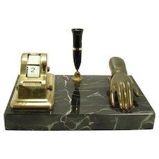 Scheaffer Marble Brass/Bronze Pen Holder and Desk Organizer -  1930's