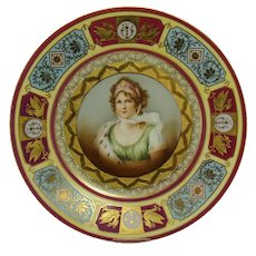 Hand-Painted Countess Potocka Porcelain Cabinet Plate - 1890's