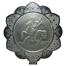 Early American Pressed Glass Dish with Lion Slayer Depiction