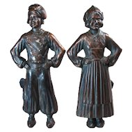 Cast Iron Boy and Girl Andirons with Bronzed Finish - 1920's